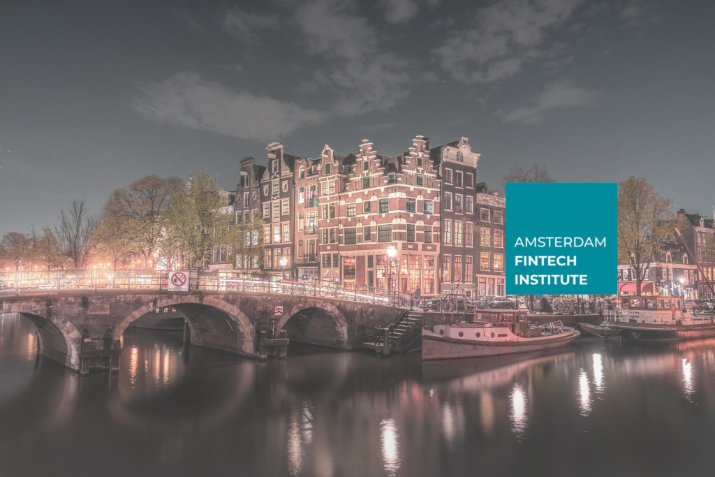 Image of Amsterdam with Amsterdam Fintech Institute Logo